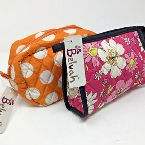 Lot of 2~Quilted Cosmetic Bags~Belvah~Zippered